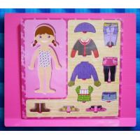女生的立體紙娃娃穿衣服遊戲板(環保原木材質)