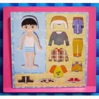 男生的立體紙娃娃穿衣服遊戲板(環保原木材質)