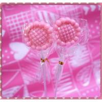 心花朵朵開的花朵棒棒糖粉紅款台灣製100隻裝含禮籃