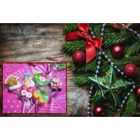10公分全長豪華手工聖誕主題糖霜加QQ軟糖的棒棒糖12隻罐裝