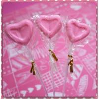 限量製作的粉紅愛心棒棒糖台灣製(單隻報價)