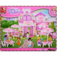 女生專屬-粉紅社區浪漫餐廳積木(306片)