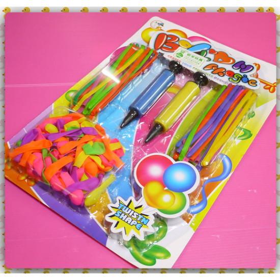 造型細長氣球與灌水氣球通通有內含兩隻注射筒型充氣棒(ST安全玩具)