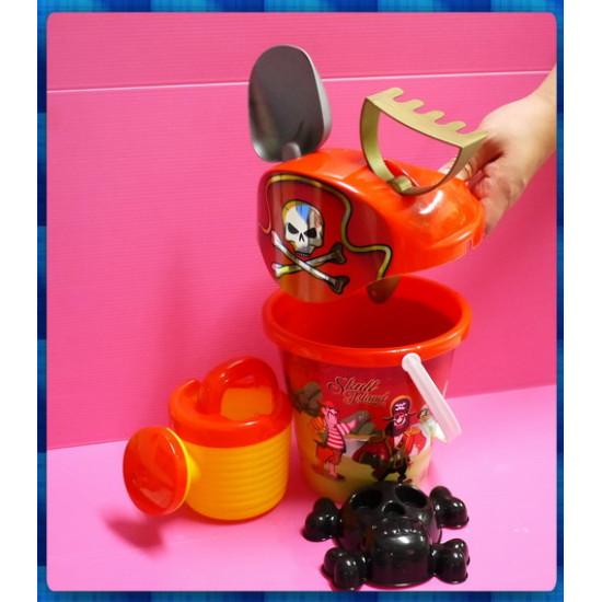 海盜主題中大型沙灘玩具組含有濾沙組