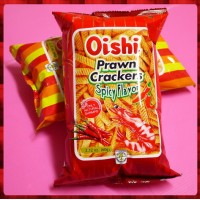 Oishi蝦條餅60g包辣味-使用真蝦漿原料-粗壯的烤蝦條