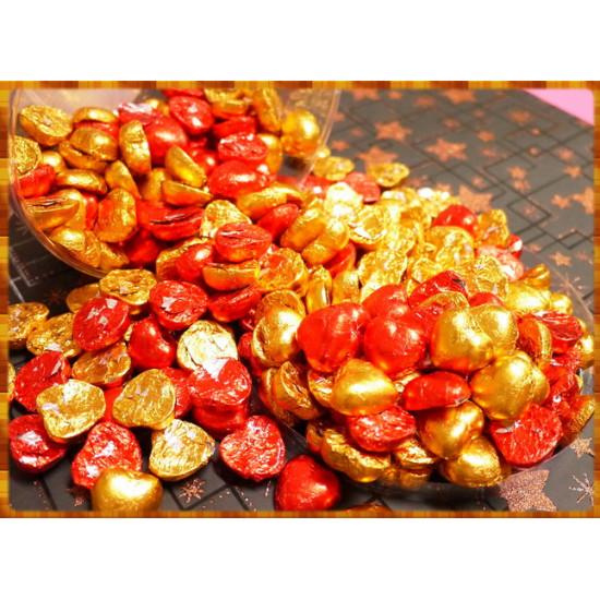 2.5公分小紅金與小黃金薄鋁箔紙巧克力一公斤裝