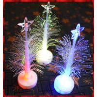14公分高迷你閃光塑膠光纖聖誕樹-內含電池