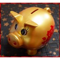 20公分身長可重複使用的燙金塑膠材質招財進寶小豬撲滿