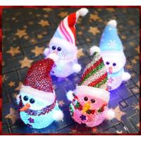 10公分高超可愛聖誕雪人娃娃閃光燈組-內含電池-單尊