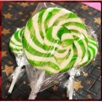 正宗純台灣製超大綠白漩渦棒棒糖(10公分直徑120g重量)單隻報價-晶瑩剔透款