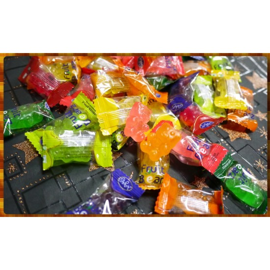 一顆一包裝的小熊造型硬糖-綜合水果風味