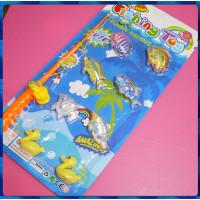 大型手動式水晶釣魚玩具並含有2隻黃色小鴨鴨