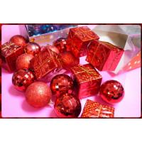 專門用於聖誕節裝飾用的各式小物包(如圖款出)-加強亮度紅色主題球形與方形禮盒包
