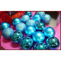 專門用於聖誕節裝飾用的各式小物包(如圖款出)-加強亮彩度藍色主題球形包