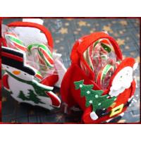 超級可愛的聖誕主題提袋裝入台灣製旗艦版彩晶柺杖糖5隻