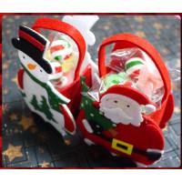 超級可愛的聖誕主題提袋裝入台灣製6.5公分長彩晶聖誕紅白綠奶嘴糖5顆