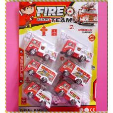 8公分長首都專屬消防車組合回力動力(6台裝)