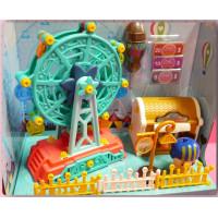全組可拆解再重組的DIY玩具組-遊樂園主題的摩天輪加上藏寶箱
