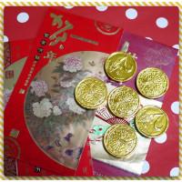 仿瑞典3.5公分皇室金幣巧克力6顆裝+最棒燙金紅包袋(單組裝)